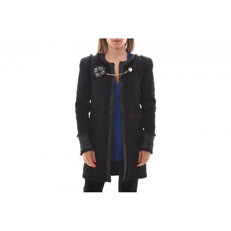 PINKO - Acetate Jacket  with Jewel Pin MARGINARE - Black