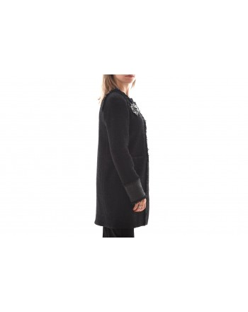 PINKO - Acetate Jacket  with Jewel Pin MARGINARE - Black