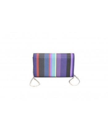 GALLO - Saffiano Leather Striped Bag - Purple