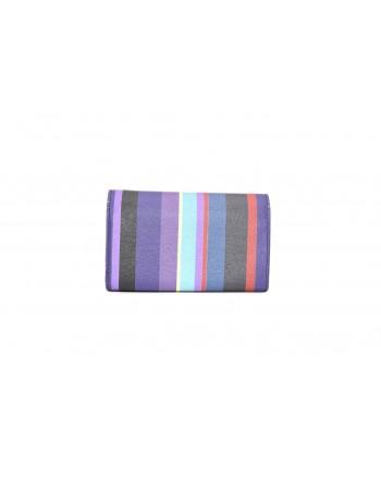 GALLO - Saffiano Leather Striped Bag - Purple