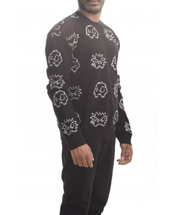 MCQ BY ALEXANDER MCQUEEN - Maglia PIXEL Monster in cotone - Darkest Black