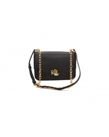 POLO RALPH LAUREN - MADISON Leather bag with metal Logo - Black
