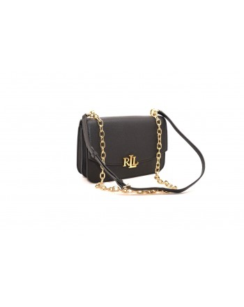 POLO RALPH LAUREN - Borsa in pelle con Logo in metallo MADISON  - Nero