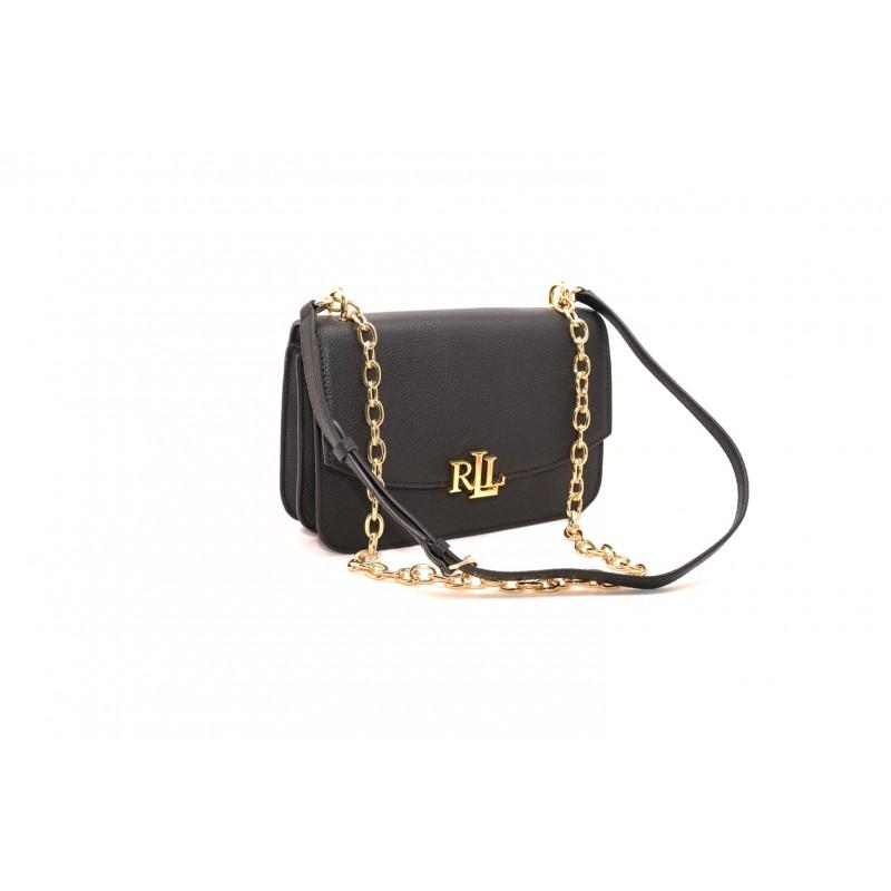 POLO RALPH LAUREN - MADISON Leather bag with metal Logo - Black