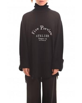 5 PREVIEW - Maglia in lana con stampa - Nero