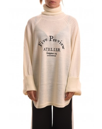 5 PREVIEW - Wool sweater with print - White
