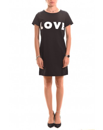 LOVE MOSCHINO - Fleece dress with Logo LOVE - Black