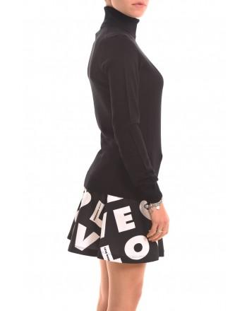 LOVE MOSCHINO - Pullover in maglia rasata con doppio CUORE - Nero