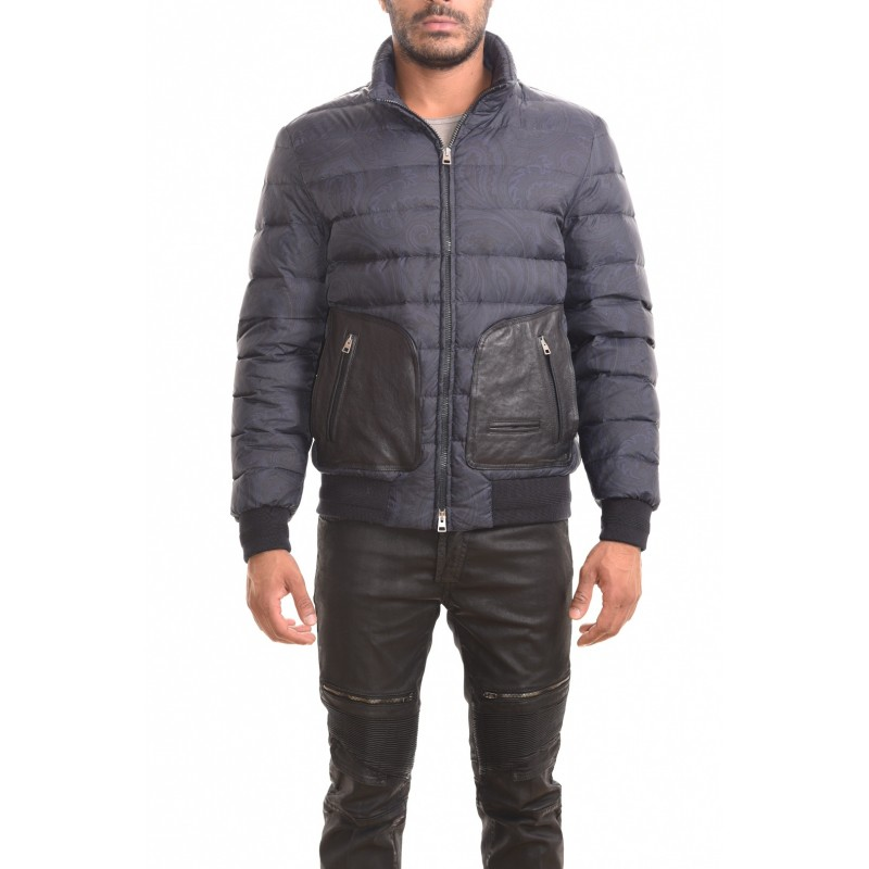 ETRO - Jacket with leather details - Dark blue