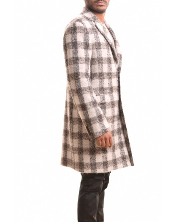 ETRO - REGULAR QUADRO  wool coat - Ivory/Black