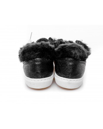 2 STAR - Glitter Sneakers with fur - Black/silver
