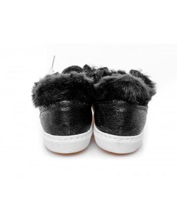 2 STAR - Sneakers in glitter con pelliccia - Nero/silver