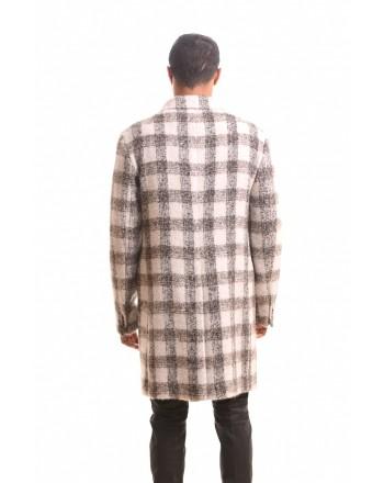 ETRO - REGULAR QUADRO  wool coat - Ivory/Black