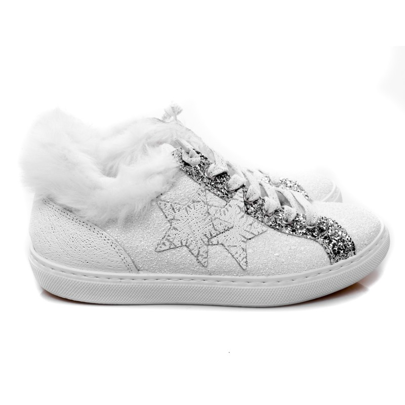 2 STAR - Glitter Sneakers with fur - White/silver