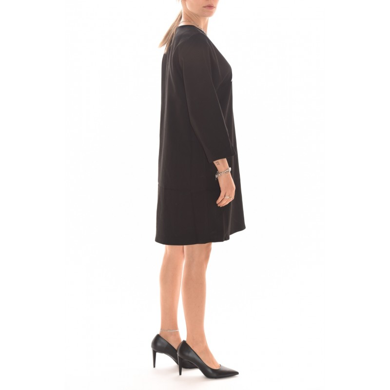 5 PREVIEW - Viscose dress with logo print - Black