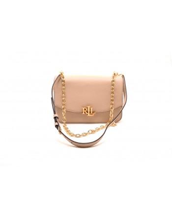 POLO RALPH LAUREN - MADISON Leather bag with metal Logo - Light sand