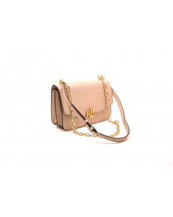 POLO RALPH LAUREN - Borsa in pelle con Logo in metallo MADISON  - Light sand