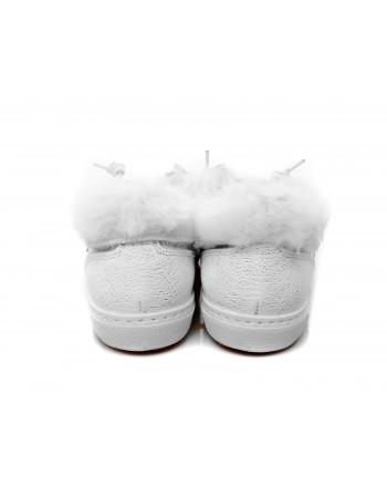 2 STAR - Sneakers in glitter con pelliccia - Bianco/silver