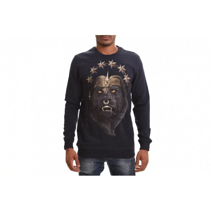 FRANKIE MORELLO - Cotton Sweatshirt with Animal Print - Navy