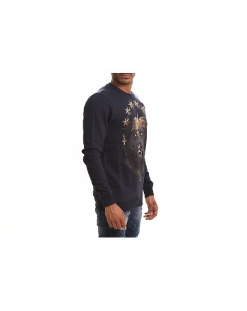 FRANKIE MORELLO - Felpa in Cotone con Stampa Animal - Navy
