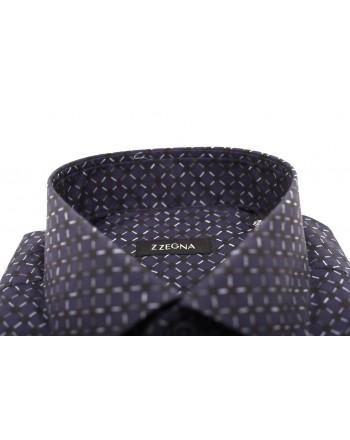 ERMENEGILDO ZEGNA - Camicia in cotone stampa Geometric - Blu