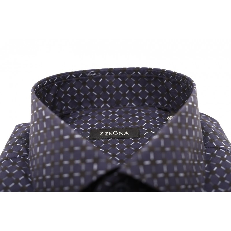 ERMENEGILDO ZEGNA - Geometric print cotton shirt - Blue