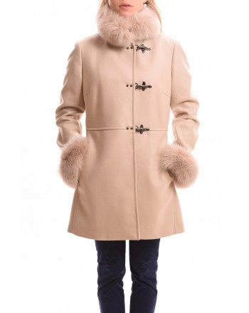 FAY - Wool and Cashmere VIRGINIA Coat with Fur Details - Ivory