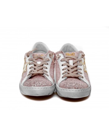 2 STAR - Sneakers in glitter - Rosa antico/Bianco