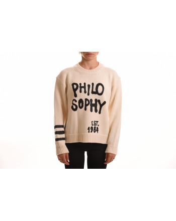 PHILOSOPHY di LORENZO SERAFINI - Wool Knit with Logo Writing - Cream
