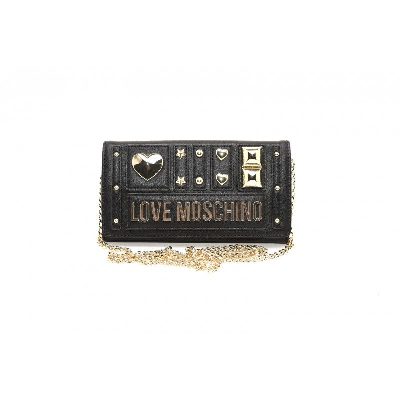 LOVE MOSCHINO - Ecoleather Purse with Metallic Chain - Black