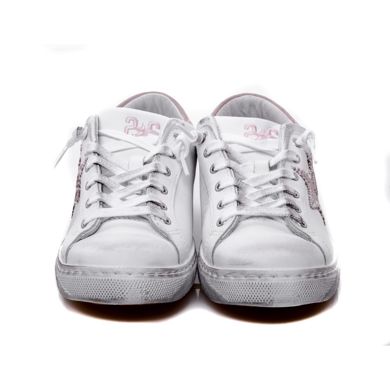 2 STAR - Leather Sneakers - Bianco/Rosa