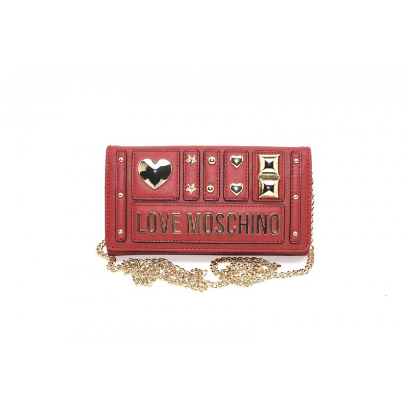 LOVE MOSCHINO - Ecoleather Purse with Metallic Chain - Red