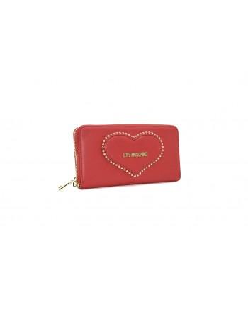 LOVE MOSCHINO - Portafogli Zip Around con Cuore - Rosso