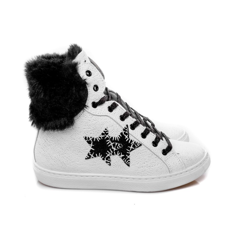 2 STAR - High leather Sneakers with fur - White/Black