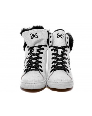 2 STAR - Sneakers alta in pelle con pelliccia - Bianco/Nero