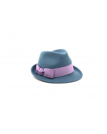GALLO - Cappello in feltro con fiocco in contrasto - Anatra/Iris