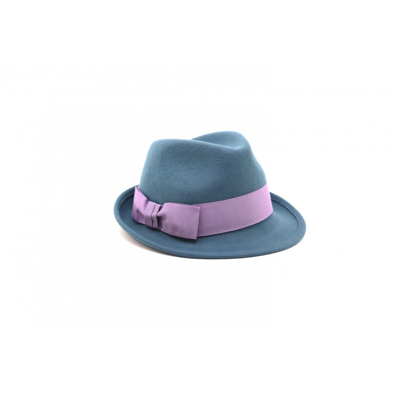 GALLO - Felt hat with contrasting bow - Grey/Iris