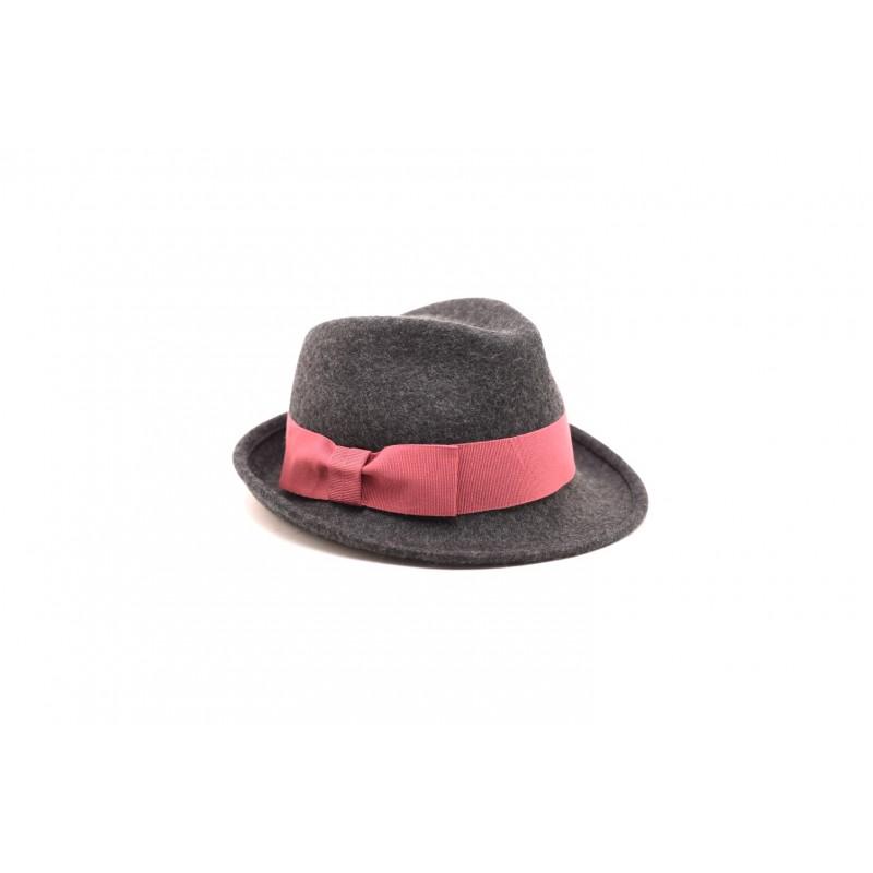 GALLO - Cappello in feltro con fiocco in contrasto - Antracite/lampone