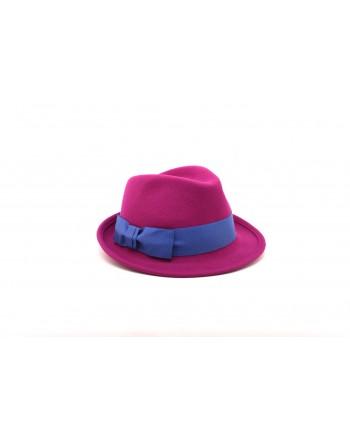 GALLO - Cappello in feltro con fiocco in contrasto - Magenta/Prussia