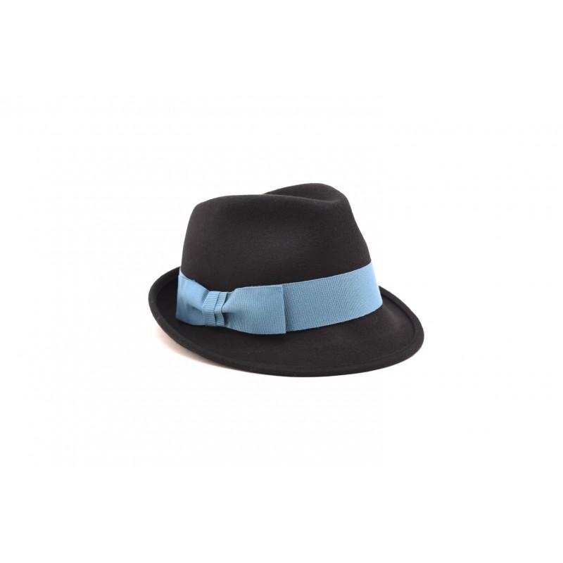 GALLO - Cappello in feltro con fiocco in contrasto - Nero/Laguna