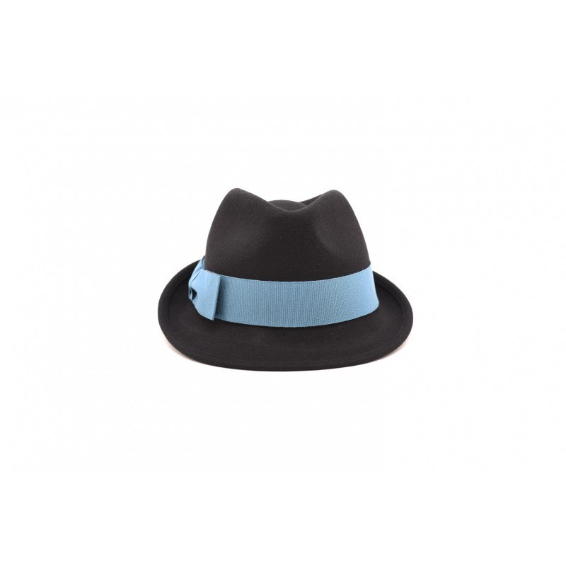GALLO - Felt hat with contrasting bow - Black/Lagoon
