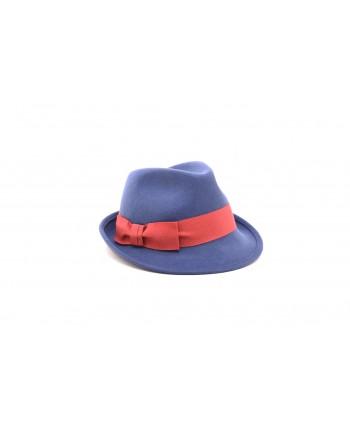 GALLO - Cappello in feltro con fiocco in contrasto - Royal/Amaranto