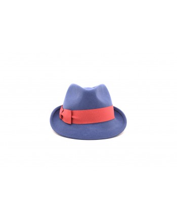 GALLO - Felt hat with contrasting bow - Blue royal/Amaranth
