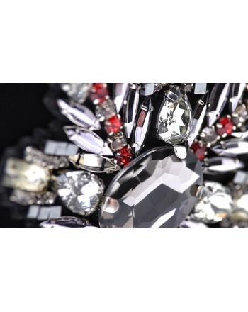 PINKO - Spilla con Cristalli RIVEDERE -Canna Fucile/Rosso