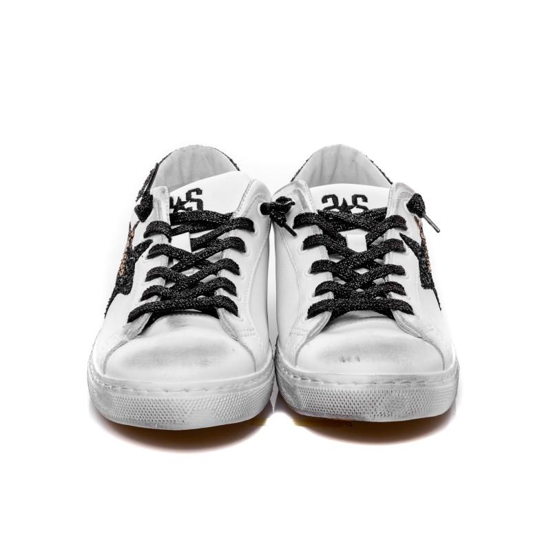 2 STAR - Sneakers glitter in pelle - Bianco/Nero