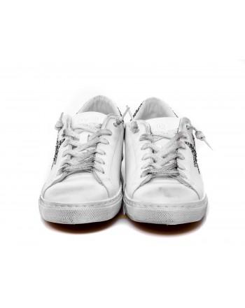 2 STAR - Sneakers glitter in pelle - Bianco/Silver