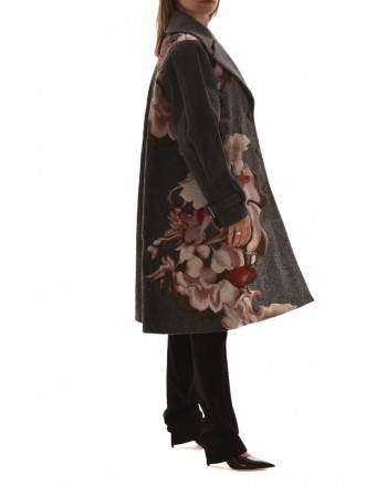 ALBERTA FERRETTI - Wool Jacket with Print Grey Pattern - Grey