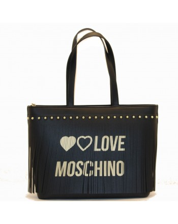LOVE MOSCHINO - Ecoleather Shopping Bag with Fringes Logo - Black/Gold