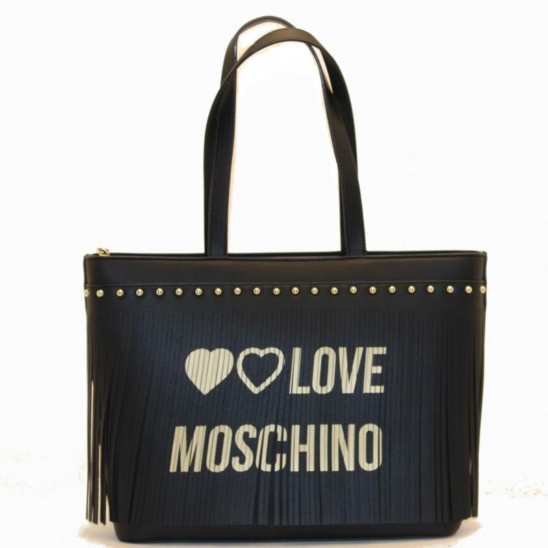 LOVE MOSCHINO - Borsa in Ecopelle con Logo Frange - Nero/Oro