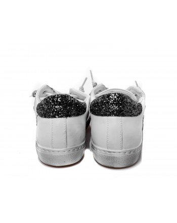 2 STAR - Sneakers glitter in pelle - Bianco/Silver